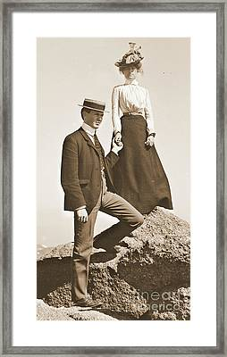 Young Couple Sepia 1915 Framed Print by Padre Art
