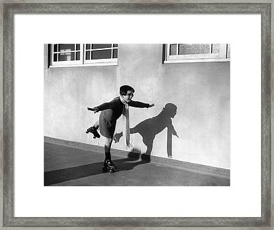 Young Girl (7-9) On Rollerskates (b&w) Framed Print by Hulton Archive