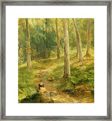 Young Girl Bathing Her Feet Framed Print by Thomas Creswick
