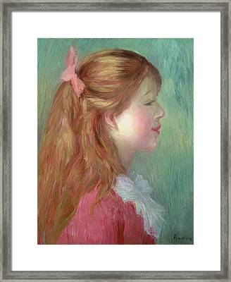 Young Girl With Long Hair In Profile Framed Print by Pierre Auguste Renoir