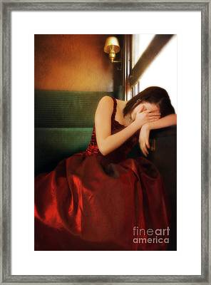 Young Lady In Red Gown On Vintage Train Framed Print by Jill Battaglia