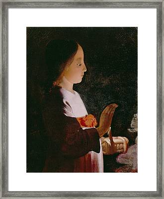 Young Virgin Mary Framed Print by Georges de la Tour