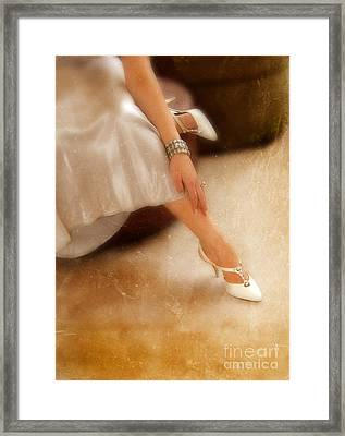 Young Woman Dressed For A Formal Evening Out Framed Print by Jill Battaglia