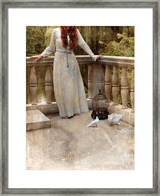 Young Woman In Vintage Dress With Doves Framed Print by Jill Battaglia