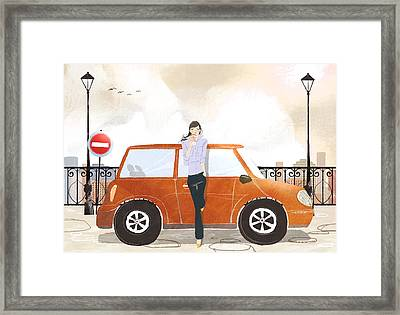 Young Woman Standing In Front Of Car Drinking Takeaway Coffee Framed Print by Eastnine Inc.