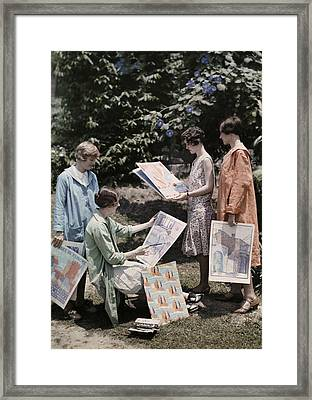 Young Women From Newcomb College Gather Framed Print by Edwin L. Wisherd