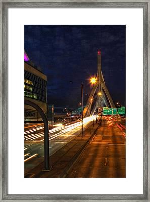 Zakim Bridge At Night Framed Print by Joann Vitali