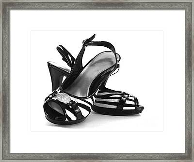 Zebra Print Pumps Framed Print by Blink Images