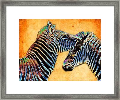 Zebra Tales Framed Print by Barbara  White
