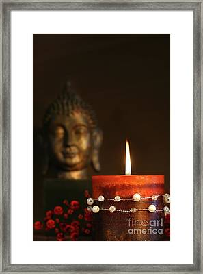 Zen Candle And Buddha Statue Framed Print by Sandra Cunningham