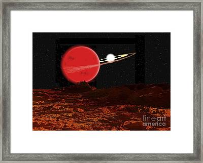 Zeta Piscium Is A Binary Star System Framed Print by Ron Miller