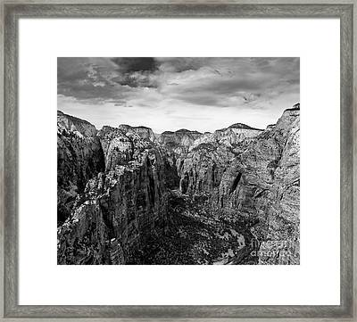 Zion National Park - View From Angels Landing Framed Print by Larry Carr