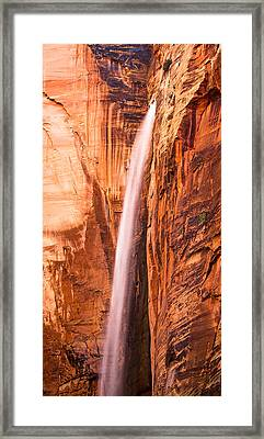 Zion Waterfall Framed Print by Adam Pender