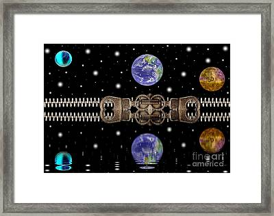 Zipper And Planets Framed Print by Odon Czintos
