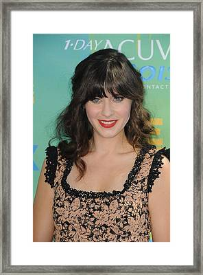 Zooey Deschanel At Arrivals For 2011 Framed Print by Everett
