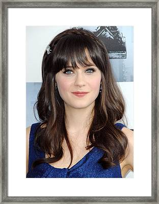 Zooey Deschanel At Arrivals For Film Framed Print by Everett