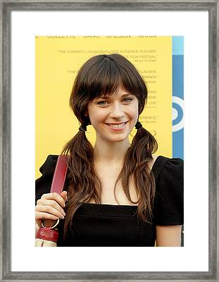 Zooey Deschanel At Arrivals For Little Framed Print by Everett