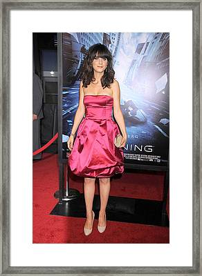 Zooey Deschanel At Arrivals For New Framed Print by Everett
