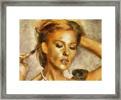 # 7 Monica Bellucci Portrait Framed Print by Alan Armstrong