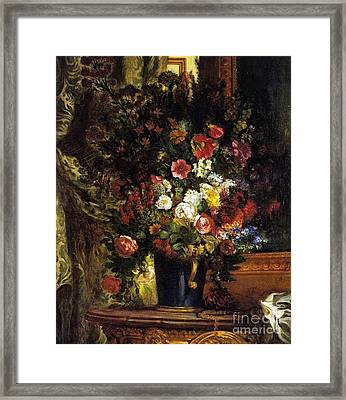 A Vase Of Flowers On A Console Framed Print by Eugene Delacroix