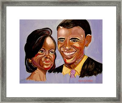 Barak And Michelle Obama   The Power Of Love Framed Print by Rusty Woodward Gladdish