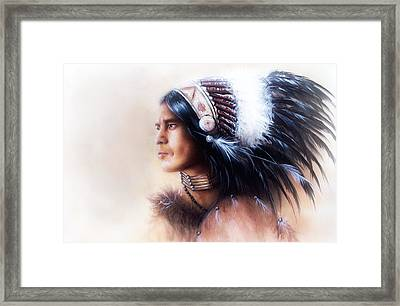 Beautiful Painting Of A Young Indian Warrior Wearing A Gorgeous Feather Headdress Profile Portrait Framed Print by Jozef Klopacka