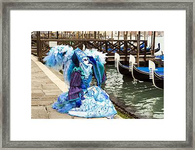 Blue Angel 2015 Carnevale Di Venezia Italia Framed Print by Sally Rockefeller