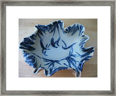 Blue Leafy Bowl Framed Print by Julia Van Dine