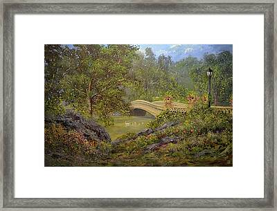 Bow Bridge Central Park Framed Print by Michael Mrozik