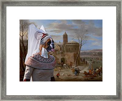 Boxer Art Canvas Print - A Winter Landscape With Figures  Framed Print by Sandra Sij