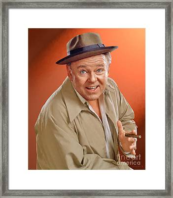 Carroll O'connor As Archie Bunker Framed Print by Stephen Shub