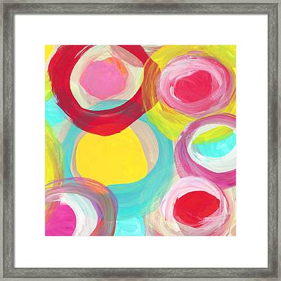 Colorful Sun Circles Square 2 Framed Print by Amy Vangsgard
