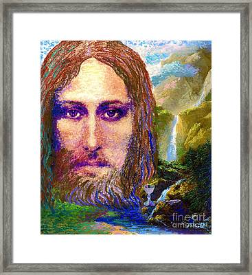 Contemporary Jesus Painting, Chalice Of Life Framed Print by Jane Small