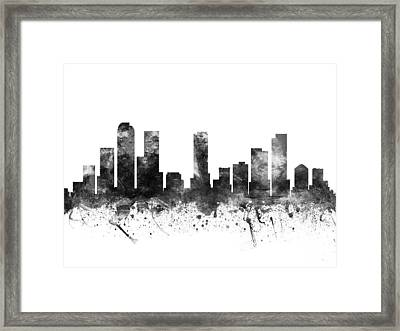 Denver Colorado Cityscape 02bw Framed Print by Aged Pixel