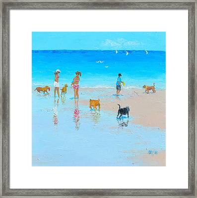 Dog Beach Day Framed Print by Jan Matson