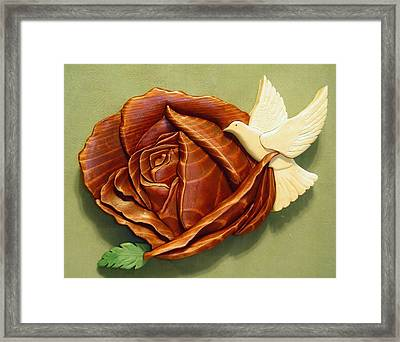 Dove On A Rose Framed Print by Russell Ellingsworth