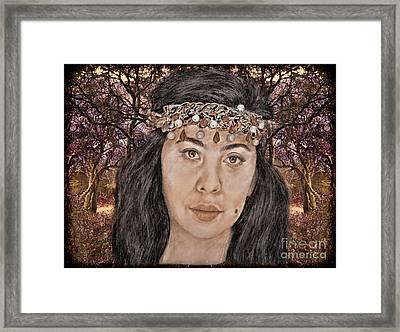 Filipina Model Kaye Anne Toribio In A Mystical Forest. Framed Print by Jim Fitzpatrick