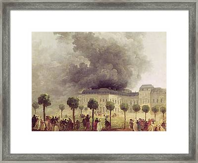 Fire At The Opera House Of The Palais Royal Framed Print by Hubert Robert