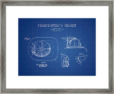 Firefighter Helmet Patent Drawing From 1932 - Blueprint Framed Print by Aged Pixel