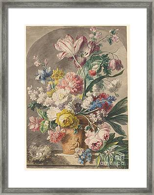 Flowers In An Urn And A Bird's Nest  Framed Print by Jan van Huysum