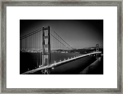 Golden Gate Bridge At Night Monochrome Framed Print by Melanie Viola