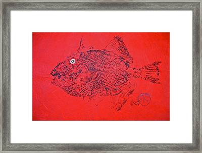 Gyotaku - Triggerfish - Queen Trigger 2 Framed Print by Jeffrey Canha