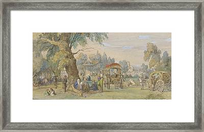 In A Turkish Park Framed Print by Amedeo Preziosi