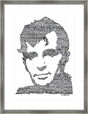 Jack Kerouac Black And White Word Portrait Framed Print by Kato Smock