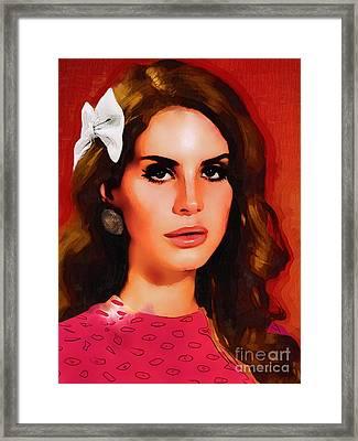 Lana Del Rey Portrait A Framed Print by Andre Drauflos