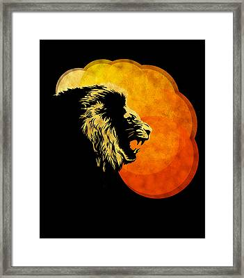 Lion Illustration Print Silhouette Print Night Predator Framed Print by Sassan Filsoof