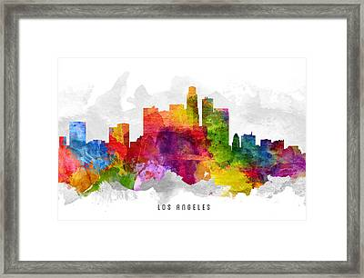 Los Angeles California Cityscape 13 Framed Print by Aged Pixel