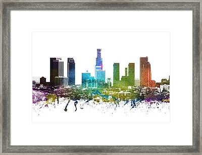 Los Angeles Cityscape 01 Framed Print by Aged Pixel