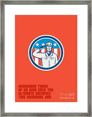 Memorial Day Greeting Card American Soldier Salute Circle Framed Print by Aloysius Patrimonio