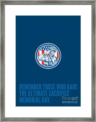 Memorial Day Greeting Card Soldier Military Salute Circle  Framed Print by Aloysius Patrimonio
